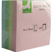 Q-Connect Quick Notes Cube 76 x 76mm Pastel - 400 sheets